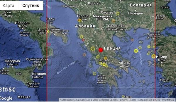 Землетрясение в Греции магнитудой 5.1 утром 31 августа 2018 года