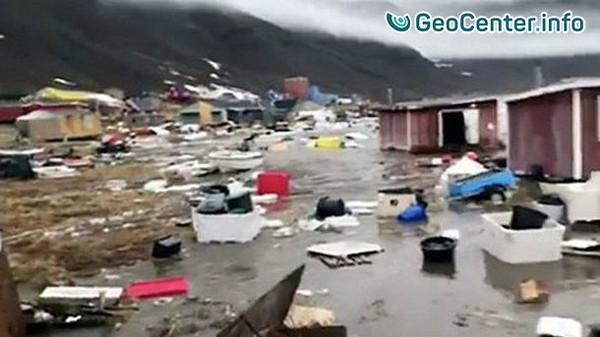 Землетрясение, цунами и наводнение в Гренландии, июнь, 2017