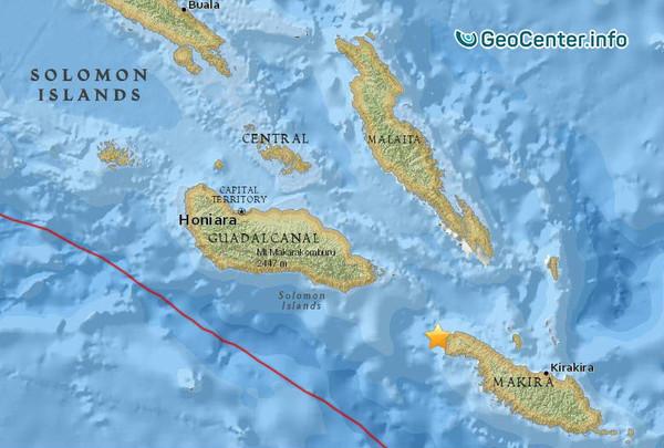 Очередное землетрясение у Соломоновых островов