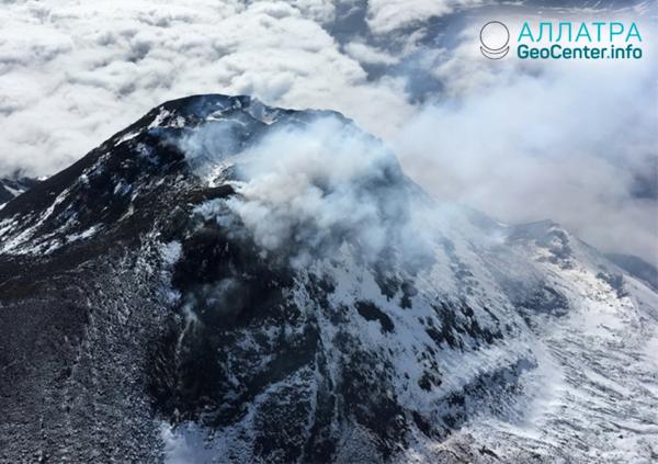 Извержение вулкана Безымянный на Камчатке, январь 2019