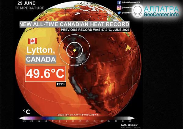 Extrémna horúčava v krajinách sveta, koniec júna 2021