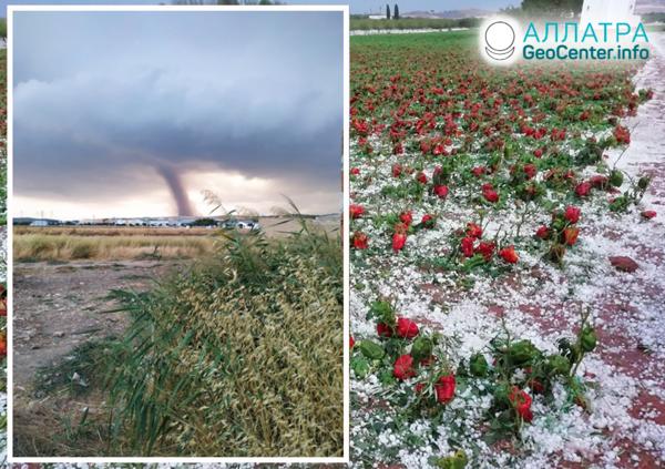 Kataklizmy v Španielsku: búrka s krupobitím, smršť. August 2019