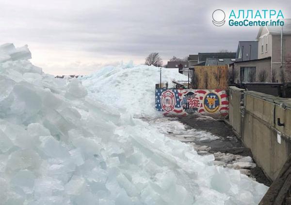 Ледяное цунами на берегах реки Ниагара и озера Эри (граница США и Канады)
