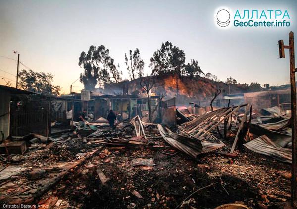 Lesný požiar v Čile, december 2019
