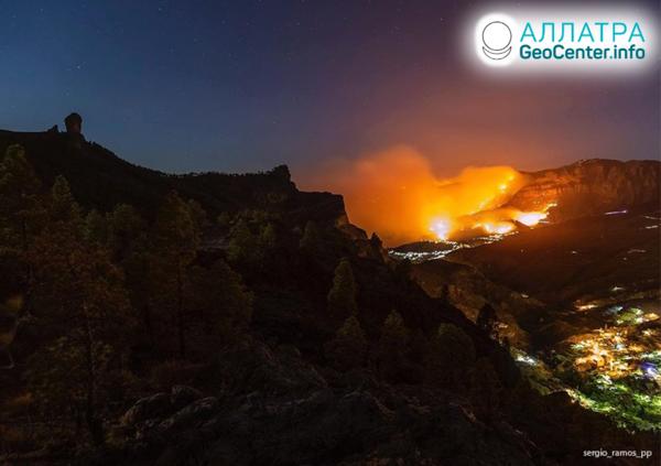 Lesný požiar v Španielsku, august 2019