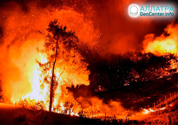 Лесные пожары в мире, конец июля-начало августа 2021