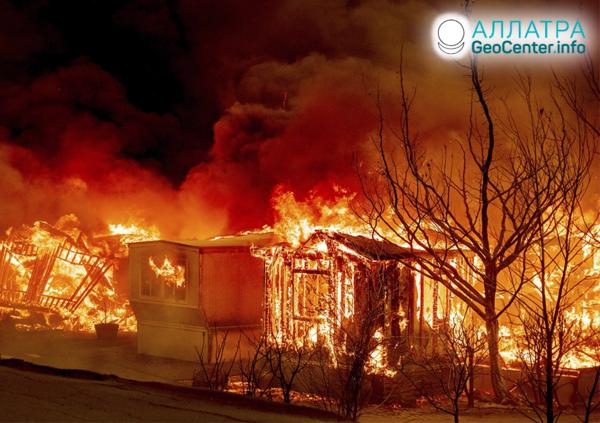 Лесные пожары в Северной и Южной Америке, август 2020