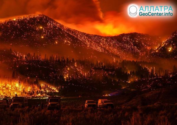Veľkoplošné lesné požiare, august-september 2020