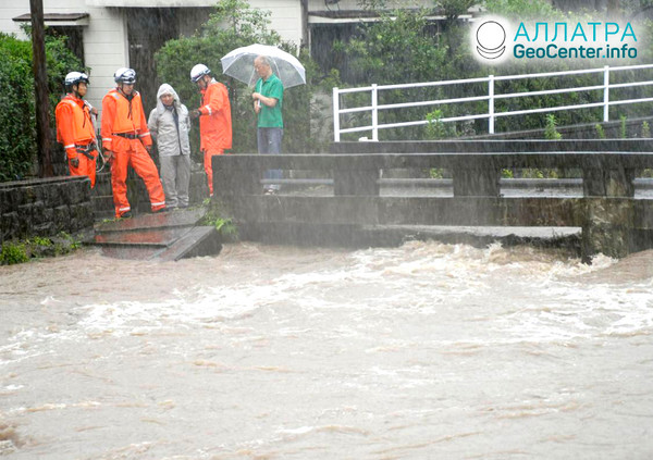 Záplavy v Japonsku, červenec 2019