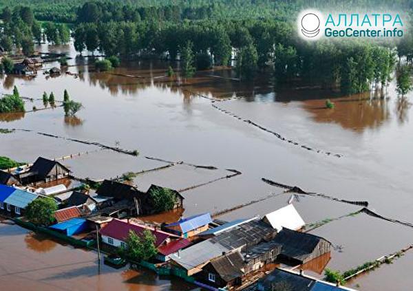 Záplavy v oblasti Krasnojarsk (Rusko), červenec 2019