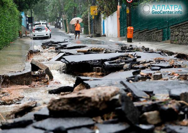 Silné záplavy v důsledku lijáku v Rio de Janeiro, 8. - 10. dubna 2019