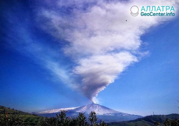 Новое «пробуждение» вулкана Этна (Италия), февраль 2019