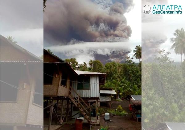 Продолжается мощное извержение вулкана Манам, Папуа-Новая Гвинея, январь 2019