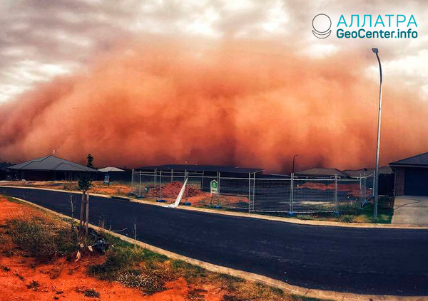Пылевой шторм в Австралии, январь 2018