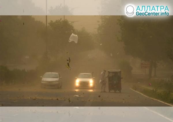 Пылевые бури в странах мира, май 2020