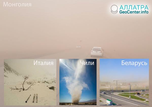 Пыльные и песчаные бури в странах мира, 15-30 апреля 2019