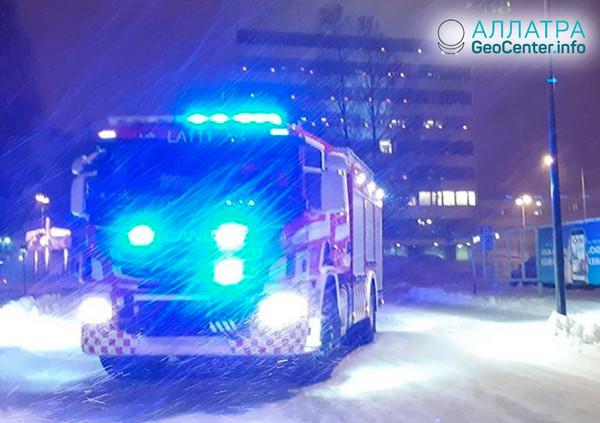 Búrka vo Fínsku, január 2019
