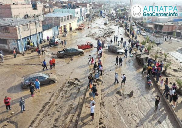 Silné záplavy a bahnotoky v Peru, február 2020