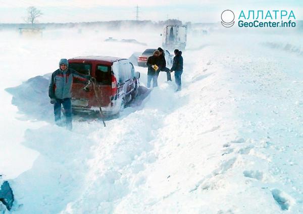 Снегопад в Саратовской области, январь 2019