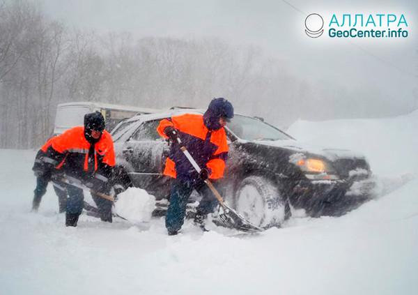 Снегопады на Камчатке, декабрь 2018
