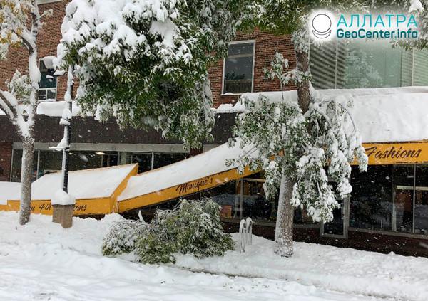 Снежный шторм в США, сентябрь 2019