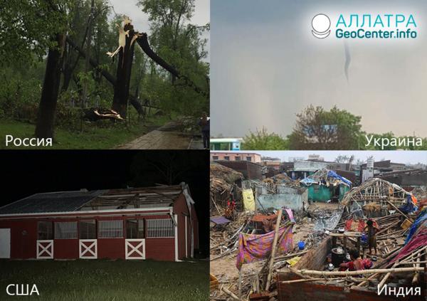 Cyklóny a tornáda, smršte a víchrice vo svete, 1.-14. mája 2019