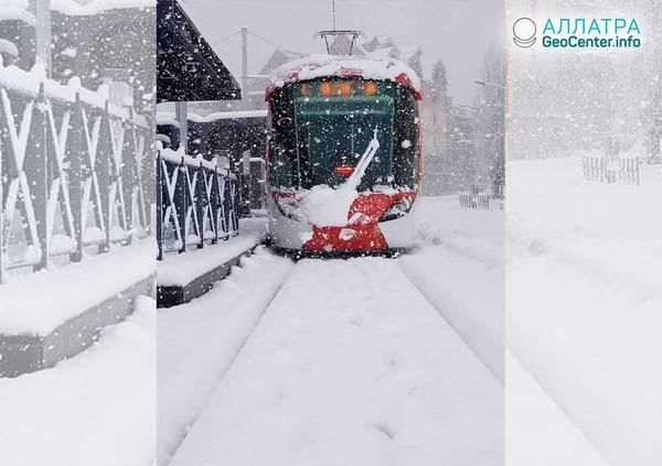 В Алжире сильные снегопады и дожди, январь 2019