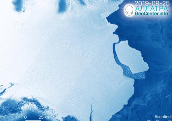 V Antarktíde sa odlomila obrovská ľadová kryha, september 2019