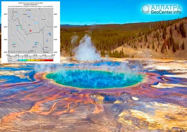 Zemětřesení 100 km od kaldery Yellowstone, 9. dubna 2019