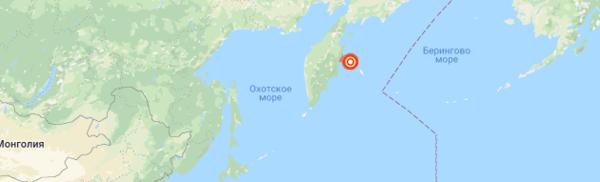 Zemětřesení o magnitudě 6,4 u pobřeží Kamčatského území Ruska, červen 2019
